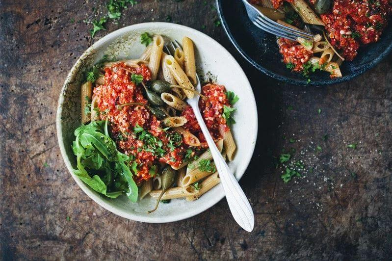 green kitchen stories penne pomodoro with vegan tuna